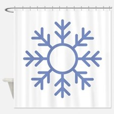 Blue Snowflake Ornament Shower Curtain