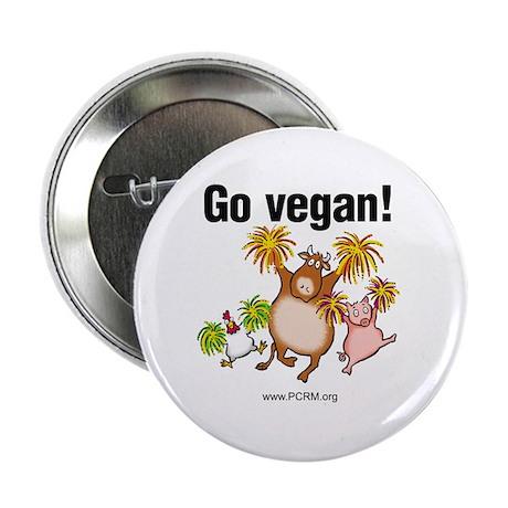 """Go Vegan! Cheer 2.25"""" Button"""