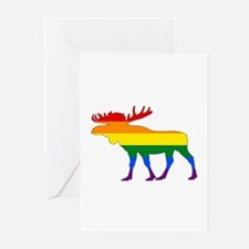 Rainbow Moose Greeting Cards