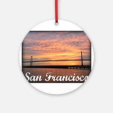 Sunrise Over The Golden Gate Bridge Round Ornament