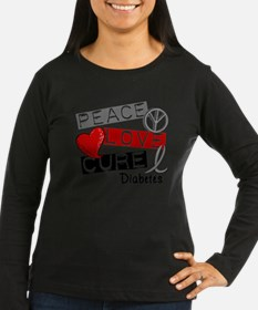 Peace Love Cure Diabetes Long Sleeve T-Shirt