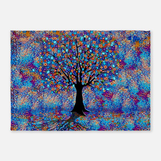 Colorful Tree of Life Tree Carnival 5'x7'Area Rug