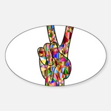 Chromatic Rainbow Peace Hand Sign Decal