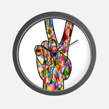 Chromatic Rainbow Peace Hand Sign Wall Clock