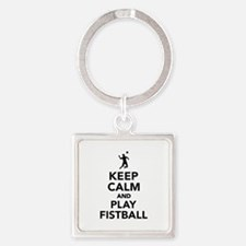 Keep calm and play Fistball Square Keychain