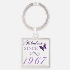 Cute Purple butterfly Square Keychain
