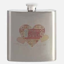 Friendships are like Quilts in Hearts Flask