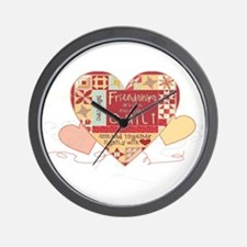 Friendships are like Quilts in Hearts Wall Clock