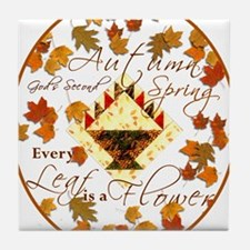 Autumn Second Spring Leaves Tile Coaster