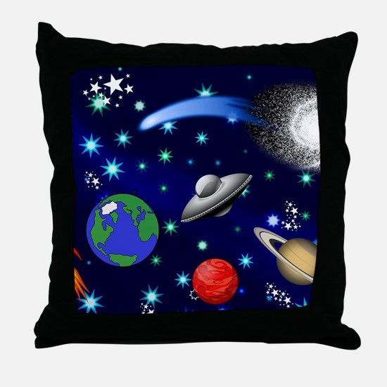 Kids Galaxy Universe Illustrations Throw Pillow