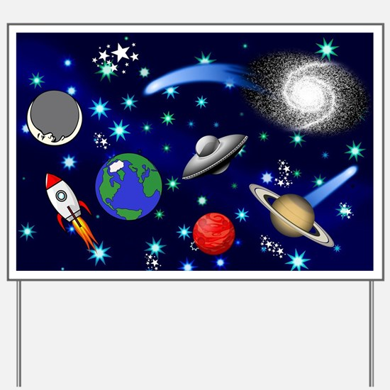 Kids Galaxy Universe Illustrations Yard Sign