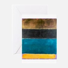 ROTHKO TEAL BLACK BROWN YELLOW 2 Greeting Cards