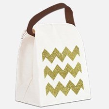 White and Gold Large Chevron Canvas Lunch Bag
