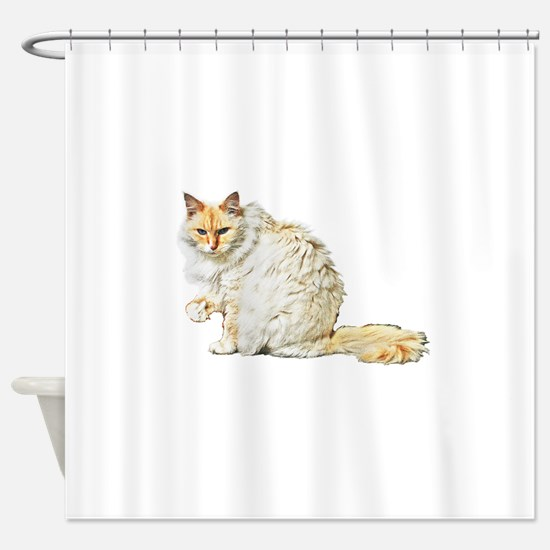 Bad kitty flipping the bird Shower Curtain