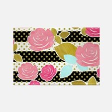 Black Pink Watercolor Floral Horizontal St Magnets