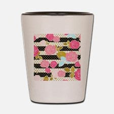 Black Pink Watercolor Floral Horizontal Shot Glass