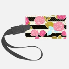 Black Pink Watercolor Floral Hor Luggage Tag