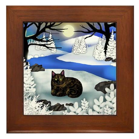 TORTOISESHELL CAT FROZEN RIVER Framed Tile