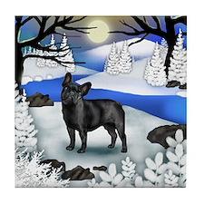 FRENCH BULLDOG DOG FROZEN RIVER Tile Coaster