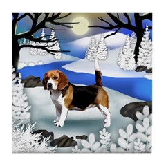 BEAGLE DOG FROZEN RIVER Tile Coaster