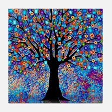Colorful Tree of Life Art Print Tile Coaster