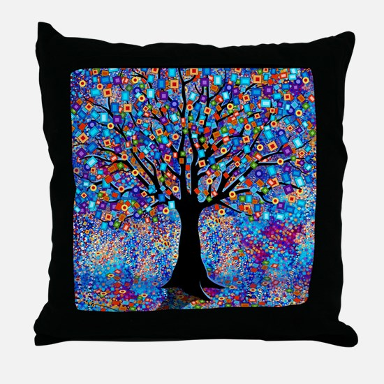 Colorful Tree of Life Art Print Throw Pillow