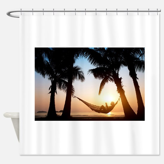 paradise palms vacation summer chil Shower Curtain