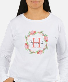 Watercolor Floral Wreath Monogram Long Sleeve T-Sh