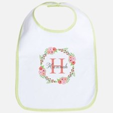 Watercolor Floral Wreath Monogram Baby Bib