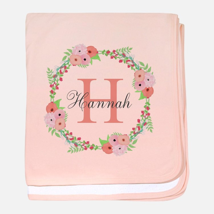Watercolor Floral Wreath Monogram baby blanket