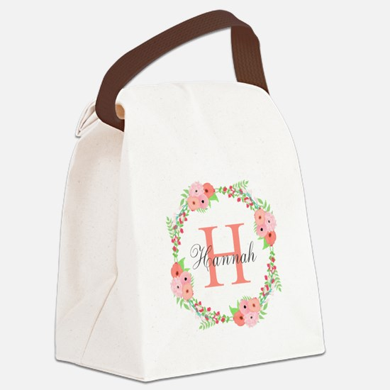 Watercolor Floral Wreath Monogram Canvas Lunch Bag