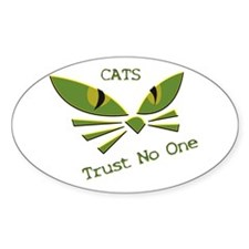 Cats Trust No one Oval Decal