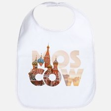 Russia Moscow Typography Baby Bib