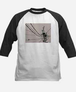 lone bird on a wire Baseball Jersey