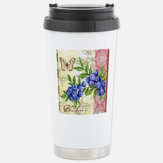 FRENCH MODERN BUTTERFLY AND BLUEBERRY Travel Mug