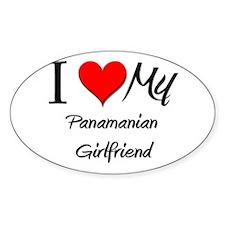 I Love My Panamanian Girlfriend Oval Decal