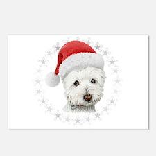 Cute Christmas Westie Dog Postcards (Package of 8)