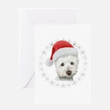 Cute Christmas Westie Dog Art Greeting Cards