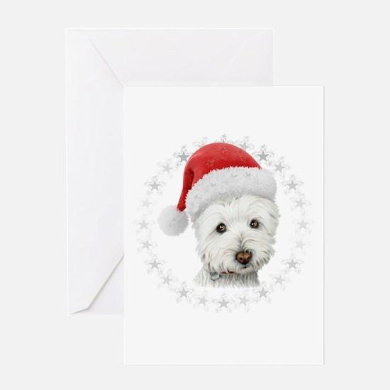 Cute Christmas Westie Dog Art Greeting Cards