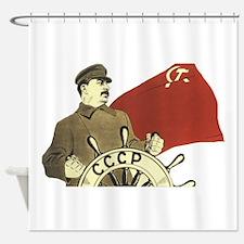 stalin communist soviet propaganda Shower Curtain