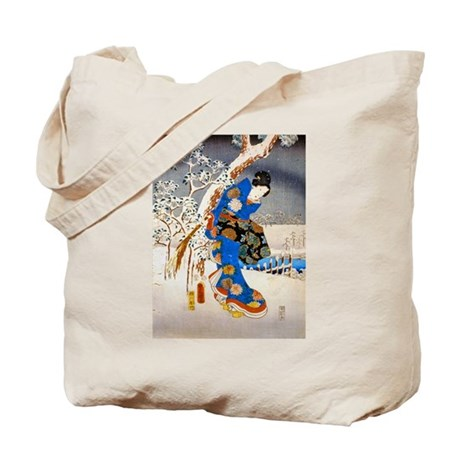 Viewing the Snow (left) Tote Bag