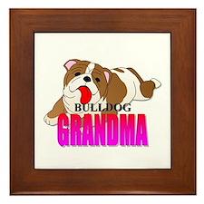 Bulldog Grandma Framed Tile