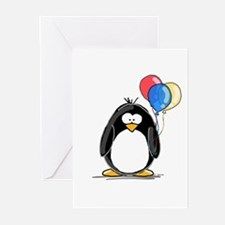 Primary Balloons Penguin Greeting Cards (Package o