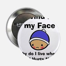 "THE WIND HURTS MY FACE 2.25"" Button"