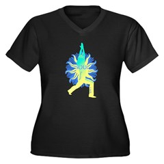 YOGA SOUL Women's Plus Size V-Neck Dark T-Shirt