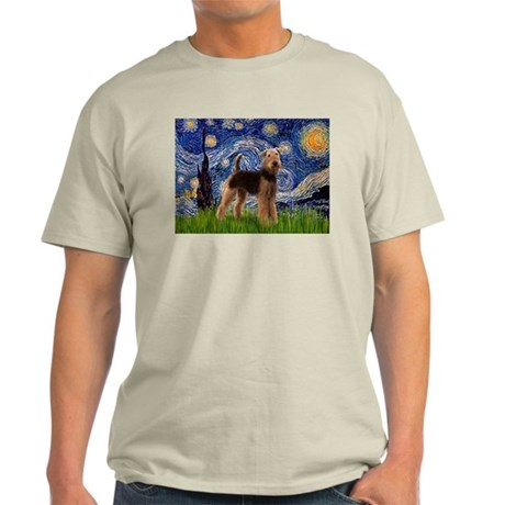 Starry Night & Airedale #6 Ash Grey T-Shirt