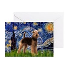 Starry Night & Airedale Greeting Cards (Package of