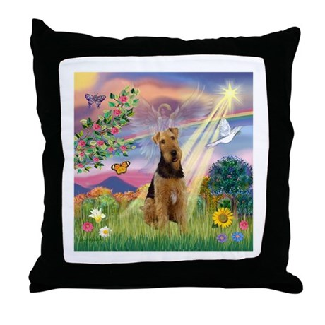 Cloud Angel & Airedale #1 Throw Pillow