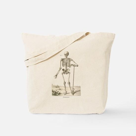 Skeleton Leaning on Spade Tote Bag