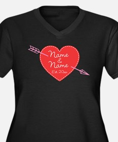 Heart Names Women's Plus Size V-Neck Dark T-Shirt